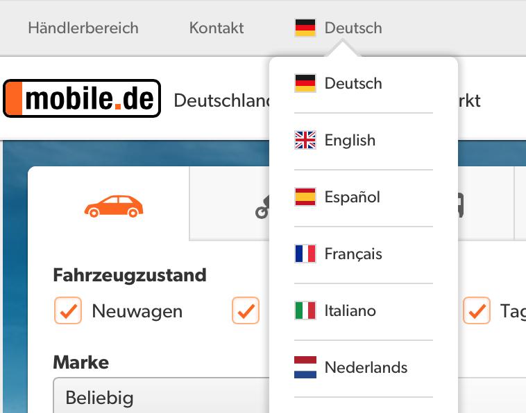 Duitse autosite in Nederlands